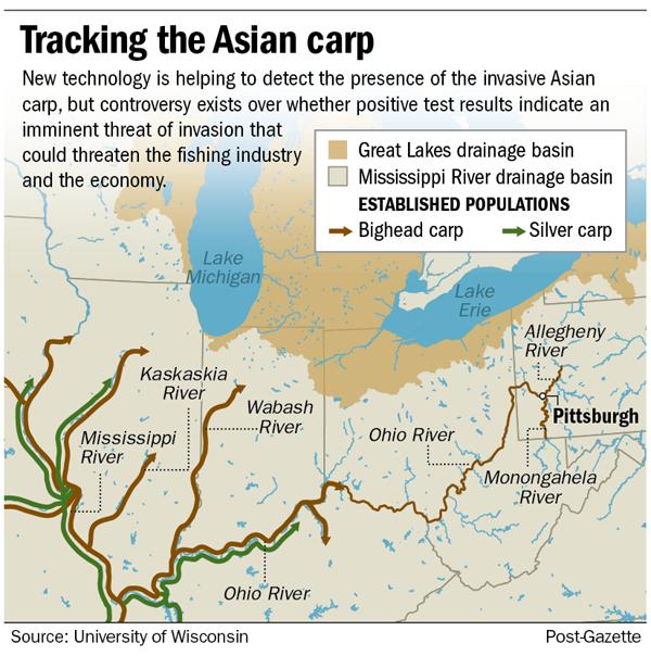 Carp Map Non Us - Asian carp map 2016 non us